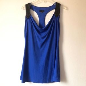 Akiko Leather Trim Blue Racer Back Top Small